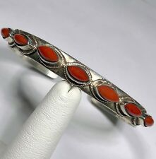 .925 Sterling Silver Antique Tibetan Red Coral Cuff Bracelet