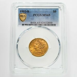 1902-S $5 Gold Liberty Graded by PCGS as MS-65! Gorgeous Half Eagle!