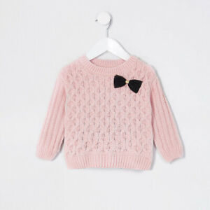 River Island Mini Girls Pink Chenille Jumper