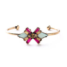 New Boho Multi-Color Crystal Gold Tone Plated Bracelet Bangle Cuff Stack Dress