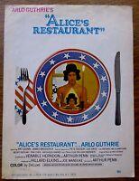 Arlo Guthie 1969 Rare Film Sheet Music ALICE'S RESTAURANT Pete Seeger