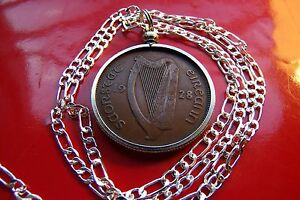 """2Rare 1928 Irish Antique Lucky Penny Pendant on a 20"""" 925 Sterling Silver Chain"""
