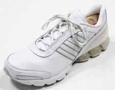 New ADIDAS White 'Microbounce' Lightweight Leather Lace up Tennis Shoes 13