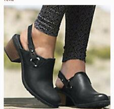 Teva Woman Foxy Clog Leather Pigskin-Convered Slip On Clogs Shoes Black 10 NWOB
