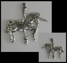 METAL CHARM #700 x 2 CAROUSEL UNICORN 45mm Double Sided joiner connector