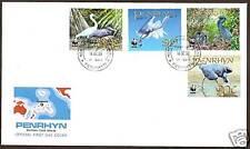 WORLD WILDLIFE FUND PENRHYN COOK IS 2008 BIRDS 4v FDC