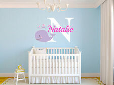 "Baby Whale Name Monogram Nursery Room Vinyl Wall Decal Graphics 22"" Tall"