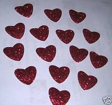 Hotfix iron on transfers 20 red meduim glitter hearts size 2 cm