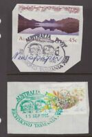 Tasmania RICHMOND pictorial cancels on piece x 2 including a green one