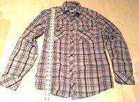 Machine Clothing Co Gray Plaid Checked Western Pearl Snap Shirt VLV Mens Medium