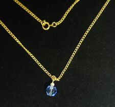 9 Pcs Of Vintage Gold Plated With 7mm Sapphire Bead Necklaces