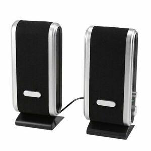 Portable For PC Laptop Computer Desktop USB Black Stereo Speakers System 3W UK
