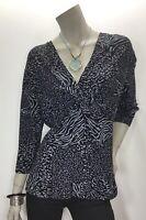 Fresh Produce Large Black Gray Twist V Neck Top Shirt Blouse 3/4 Sleeve