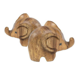 """Wooden Elephants 2"""" Hand Carved Ornament Home Decor (Pack of 2)"""