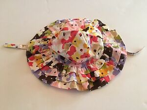 NWT Gymboree Glamour Safari 0-12 Months Floral Ruffle Sun Hat with Chin Strap