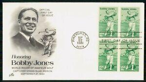 Mayfairstamps US FDC 1981 BOBBY JONES BLOCK wwm69645