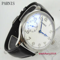 44mm Parnis Wristwatch 6497 Hand Winding Movement White Dial Men's Watch