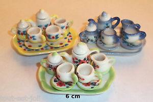 service à thé, café, miniature maison de poupée, 1/12 porcelaine peint à la main
