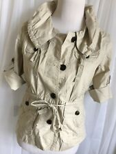 Ann Taylor Loft Ladies Brown Drawstring Short Sleeve Button Front Jacket ParkaXS