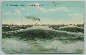 Traverse City Michigan~High Waves On The Bay~Vintage Postcard