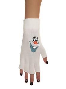 NEW Disney Frozen OLAF Snowman Embroidered FACE Design Fingerless Knit Gloves