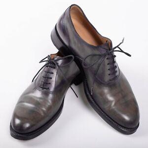 Great $3450 BERLUTI Gray Oxford Leather Shoes 7,5UK/8,5US/41,5EU