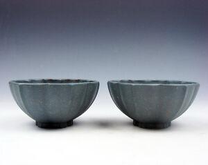 Pair YiXing Zisha Clay Hand Crafted Flower Petal Shaped Tea Cups #06271603