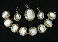 Vintage 1950's  Mother of Pearl Parure includes Pendant, Earings, Bracelet