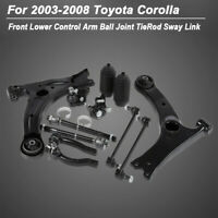 Front Lower Control Arm Ball Joint TieRod Sway Link Fit 2003-2008 Toyota Corolla