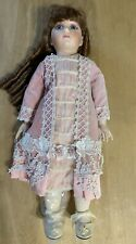 Antique Reproduction French Doll-porcelain & Cloth-dressed-Ready To Display