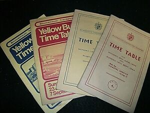 BOURNEMOUTH YELLOW BUS TIME TABLES x 4. 1964 (2), 1974 & 1976.