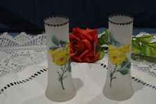 Pair of Small Vases Bud Decoration Enamelled