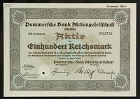🇩🇪GERMANY 833/B&V -Pommersche Bank Aktiengesellschaft 1933 100 RM Stettín