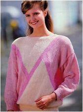 Lady's Aran Weight Yarn Multicolour Sweater w/ Diagonal Stripes Knitting Pattern