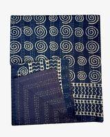 Indian Handmade King Kantha Quilt Blanket Bedding Bedspread Throw Indigo Print