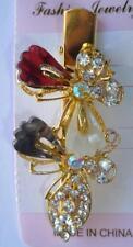 Butterfly Gray Burgundy Hair Alligator Clip Gold Crystal Rhinestone Barrette