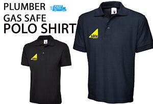 Plumber POLO SHIRT Gas Safe logo ONLY Mens WorkWear Uniform Tradesman Embroidery