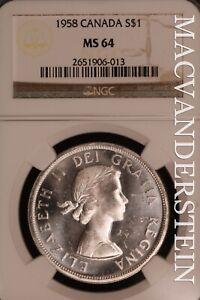 Canada: 1958 One Dollar - Silver  NGC MS 64 - Brilliant Uncirculated  #SLN130