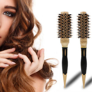 Hairbrush Antistatic Boar Bristle Round Hair Curl Brush Salon Wooden Curlers HOT