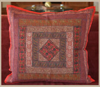 """Handmade Silk Embroidered Border 24""""  Square Red Color Pillow Cover from India"""