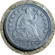 elf Seated Liberty Half Dime 1854  Arrows at Date Stars Drapery at Elbow