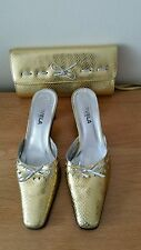 Used Ladies Sling Back Shoe By Garvela Of Spain In Gold With Matching Handbag Si