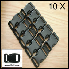 10X 5/8 PARACORD BUCKLES CONTOURED CURVED 15MM WEBBING BUCKLE BRACELET BLACK NEW