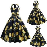 Floral Party Dresses vintage Swing Party Retro Evening Sleeveless halter Dress