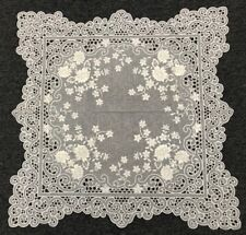 """White Silver Wedding Floral Embroidered Cutwork 36"""" Square Embroidery Tablecloth"""