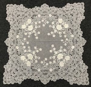 """White Silver Wedding Floral Embroidered Cutwork 33"""" Square Embroidery Tablecloth"""