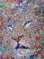 Guillaume Azoulay POST FAUVISME LION Hand Signed Ltd Ed Giclee Art on Canvas