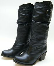 WOMENS Steve Madden Gammbble Western Slouch BLACK Leather Cowboy Boots SZ 6 M 6M