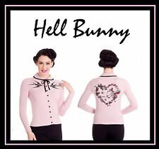 Hell Bunny Swallow Pink Black Heart Bow Skeleton Rockabilly Cardigan Top S 8 10