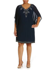 $238 JKARA Beaded Sequined Cocktail Dress 3/4 Kimono Sleeves Wedding Navy 22W